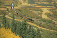 Narrow gauge steam railway in autumn, Silverton, Colorado, United States of America, North America
