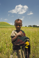 Girl holding yellow Meskel flowers in a fertile green wheat field after the rains, The Ethiopian Highlands, Ethiopia, Africa 20025353609| 写真素材・ストックフォト・画像・イラスト素材|アマナイメージズ