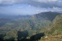 Mountain scenery near Sankaber, Simien Mountains National Park, UNESCO World Heritage Site, Ethiopia, Africa