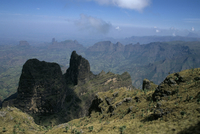 Mesas and spires of Simien Range, Simien Mountains National Park, UNESCO World Heritage Site, Ethiopia, Africa