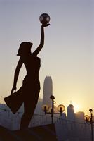 The Hong Kong Film Awards statue, Avenue of Stars, Tsim Sha Tsui, Kowloon, Hong Kong, China, Asia