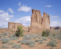 The Organ (right) and the Tower of Babel (left), Arches National Park, Utah, United States of America