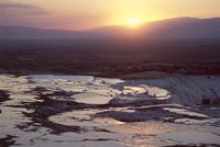 Travertine terraces at sunset, Pamukkale, UNESCO World Heritage Site, Anatolia, Turkey, Asia Minor