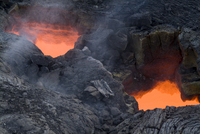 Skylight, view through cooled lava to molten lava below, Kilauea Volcano, Hawaii Volcanoes National Park, Island of Hawaii (Big