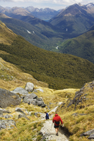 A hiker on a trail leading to Conical Hill on the Routeburn Track, part of Fiordland National Park, South Island, New Zealand, P 20025358432| 写真素材・ストックフォト・画像・イラスト素材|アマナイメージズ