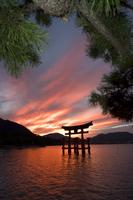 Torii Shrine Gate in the sea, UNESCO World Heritage, Miyajima Island, Hiroshima prefecture, Honshu, Japan, Asia