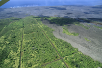 Aerial view of basalt lava flows on the southern flank of the Kilauea volcano, the lava now flows underground for miles in tubes