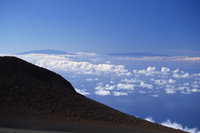 The two great 13000ft volcanic peaks of Mauna Loa on right, and Mauna Kea on the Big Island seen from the top of the Haleakala v