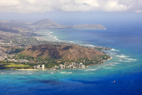 Aerial of Honolulu and Diamond Head, Oahu, Hawaii, United States of America, Pacific, North America 20025361787| 写真素材・ストックフォト・画像・イラスト素材|アマナイメージズ