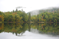 Mist rising over hills and autumn foliage around the Woodward Reservoir in central Vermont, New England, United States of Americ 20025363703| 写真素材・ストックフォト・画像・イラスト素材|アマナイメージズ