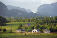 Farm houses and mountains, Vinales Valley, UNESCO World Heritage Site, Cuba, West Indies, Caribbean, Central America