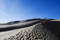 Hiker at Great Sand Dunes National Park, Colorado, United States of America, North America