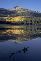 Lost Lake at dawn in the fall, Grand Mesa-Uncompahgre-Gunnison National Forest, Colorado, United States of America, North Americ