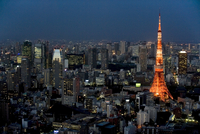 Aerial view of metropolitan Tokyo and Tokyo Tower from atop the Mori Tower at Roppongi Hills, Tokyo, Japan, Asia 20025364899  写真素材・ストックフォト・画像・イラスト素材 アマナイメージズ