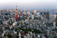 Aerial view of metropolitan Tokyo and Tokyo Tower from atop the Mori Tower at Roppongi Hills, Tokyo, Japan. Asia 20025364901| 写真素材・ストックフォト・画像・イラスト素材|アマナイメージズ