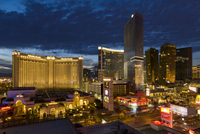 Night panorama of new hotels, including the Monte Carlo Hotel and Casino, Las Vegas Boulevard South, The Strip, Las Vegas, Nevad 20025365344| 写真素材・ストックフォト・画像・イラスト素材|アマナイメージズ