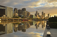 Sunrise, Melbourne Central Business District (CBD) and Yarra River, Melbourne, Victoria, Australia, Pacific