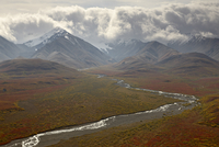 Mountains and a stream through the tundra in fall color, Denali National Park and Preserve, Alaska, United States of America, No