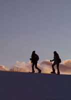 雪原をゆく2人の若者