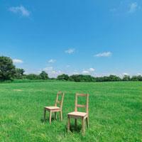 草原に並んだ2脚の椅子 20027001014| 写真素材・ストックフォト・画像・イラスト素材|アマナイメージズ