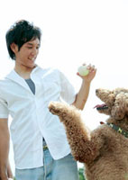 草原で犬と遊ぶ男性
