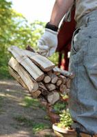薪を運ぶ中高年男性