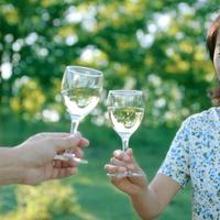 ワインで乾杯をする中高年女性