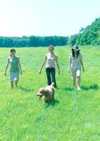 草原の中の犬と女性達
