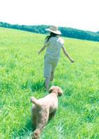 草原を散歩する女性と犬