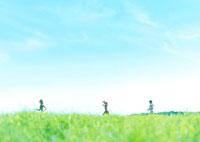 草原を走る3人の女性