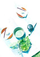 抹茶と和菓子と野花
