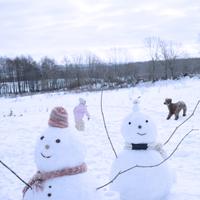 雪だるまと犬と遊ぶ子供