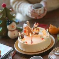ちゃぶ台の上のクリスマスケーキ