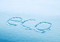 雪に書いたecoの文字
