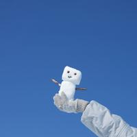 青空と手のひらに乗せた雪だるま