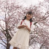 桜を手に持つ女の子