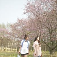 お花見に向かう2人の女性