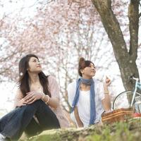 お花見をする2人の女性