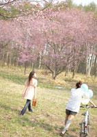 桜に向かって歩く2人の女性
