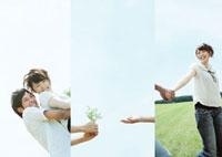草原で幸せそうにじゃれあうカップルのコラージュ