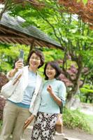 旅行で庭園を訪れ携帯電話を見る2人のシニア女性