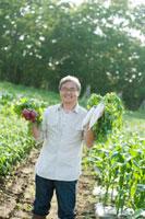農園で採れたての野菜を手に持ち微笑むシニア男性