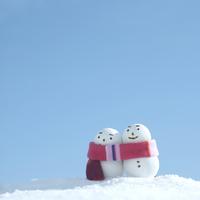 雪原に立つ雪だるまのカップル