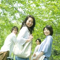 並木道で振り向く4人の大学生たち