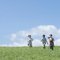 草原を走る3人の大学生