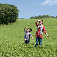 草原で空を見上げる親子