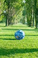 ポプラ並木に置かれた地球のボール