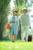 ポプラ並木を歩くシニア夫婦 20027007761| 写真素材・ストックフォト・画像・イラスト素材|アマナイメージズ