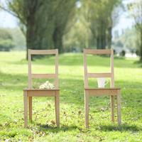 ポプラ並木に並ぶ2つの椅子