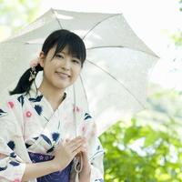 浴衣姿で日傘をさす女性